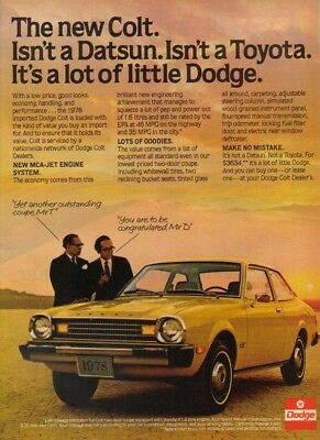 1978 Dodge Colt 2-Door Coupe vintage car photo print ad MMXV