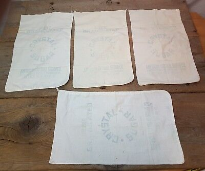 "4 Vintage Cotton Sacks Cloth Bags Faded Crystal Sugar Co 10 lb 15"" x 9"""