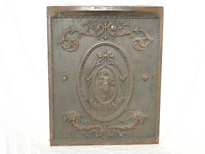 Vintage Antique Cast Iron Summer Fireplace Cover Victorian Ornate Nude Copper