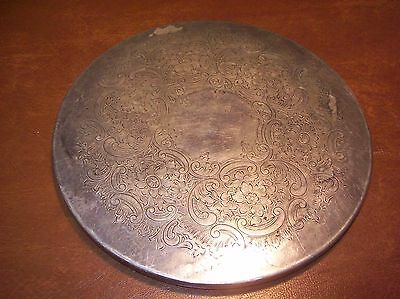 Vintage Silver Plate Round Trivet Cork and/or Felt Backed English 7 Inch