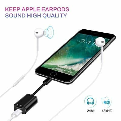 For iPhone 7 8 X Dual 2 Lightning Audio Headphone Adapter Charger Splitter Cable