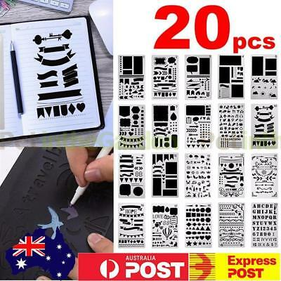 20x Bullet Journal Stencil Plastic Planner Stencils Notebook Diary Scrapbook DIY