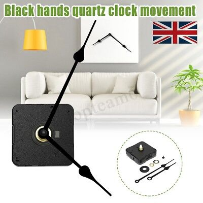 Quartz Clock Movement Mechanism Kits High Torque Black Long French Spade Hands