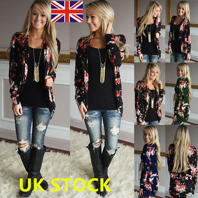 Plus Size Women Floral Kimono Cardigan Summer Beach Cover Up Tops Loose Coat
