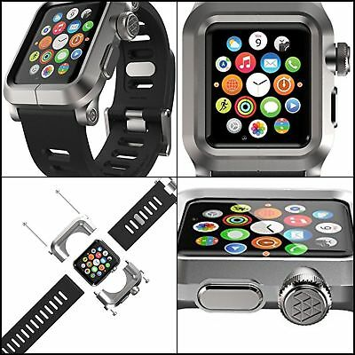 Aluminum Case & Silicone Band Strap for Apple Watch 42 mm Series 1 Silver Black