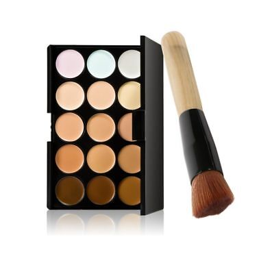 15 Colors Contour Face Cream Makeup Concealer Palette Powder Brush + Sponge Puff