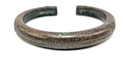 Genuine Ancient Luristan Incised Bronze Cuff Arm Bracelet Artifact, 1000-200 BC