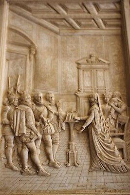 Vintage plaster relief English Royal Tudor court in frame Antique style
