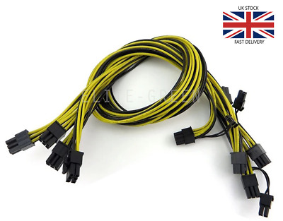 6pcs 6pin to 6+2pin 16AWG 60CM PCIe power cable for GPU/ASIC mining - BTC,ETH+