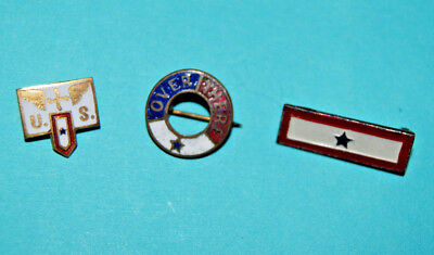 3 Diff. WW2 Son in Service Mothers Brooch Military Pins *1 marked Sterling*