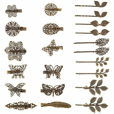 BBTO 22 Pieces Vintage Hair Clips Barrettes Bronze Leaf Bobby Pin Flower