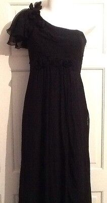 Stunning Marks and Spencer Autograph 10 black silk occasion / cocktail dress