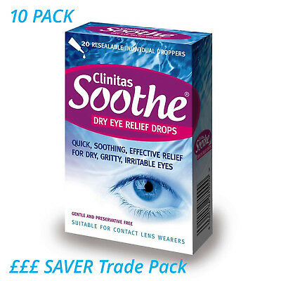10 x Clinitas Soothe Dry Eye Relief Lubricant Eye Drops 20 x 0.5 ml vials