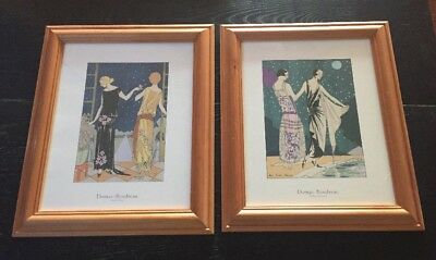 Lovely Pair of French Prints Art Gout Beaute Fashion Designs Framed