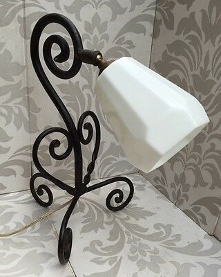 Lovely Art Nouveau French Wrought Iron Table Desk Lamp Light Arts & Crafts Old