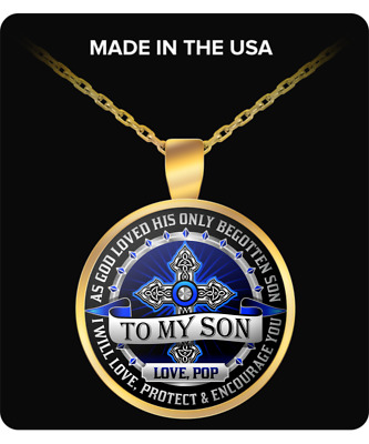 To My Son Love Pop Necklace Gold Chain Pendant Gift From Dad Father