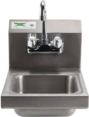Wall Mounted Hand Wash Compact Sink Restaurant Stainless Steel Faucet 12' X 16'