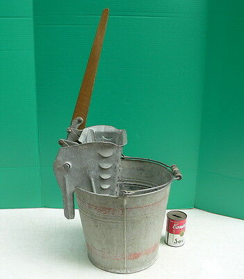 Vintage Antique Old Galvanized Metal Mop Bucket Pail & Wringer