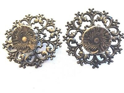 2 Vintage Antique Brass Metal French Ornate Knobs Drawer Pulls Handles - Round