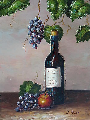 """Greek Chardonnay"" Original Hand Painted 12""x16"" Oil Painting Food Canvas Art"