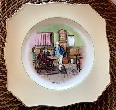 Grimwades Dickens Souvenir Mr. Pickwick Square Plate #1 Gold Rimmed