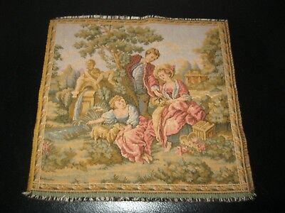 Ancienne PETITE TAPISSERIE BRODERIE SCENE ROMANTIQUE FRANCE Old French Antique 1