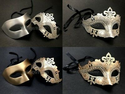 Couples Gold Silver Masquerade Mask Pair Mardi Gras Carnival New Year Eve Party