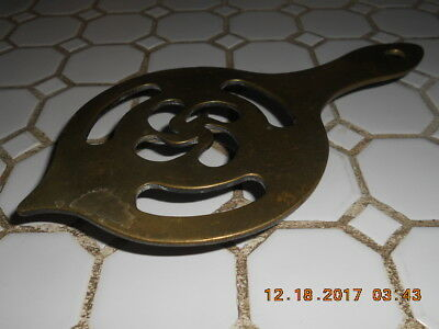 Early 19Th Century Small Brass Trivet W Nice Decorative Openwork Top Good Look
