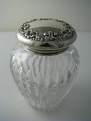 STERLING SILVER & CUT CRYSTAL POWDER JAR GINGER JAR Simpson,Hall,Miller&Co c1895