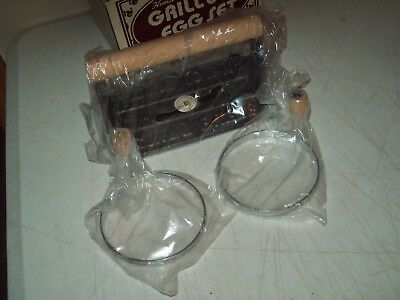 vintage Grill & Egg set Cast Iron bacon press New Old Stock cast iron pig press