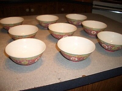 """Jingdezhen famille rose mid century chinese. 9 4"""" BOWLS   part of huge lot"""