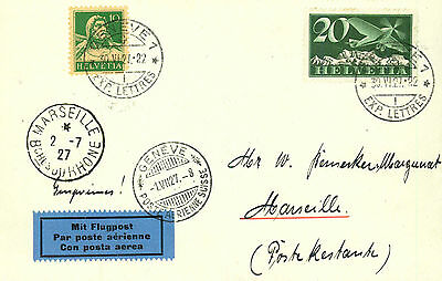 1927, RF 27.5a auf Brief Genf-Marseille