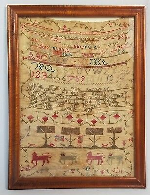 VERY IMPORTANT & HISTORIC Early American Folk Art Pictorial Sampler, c. 1808.