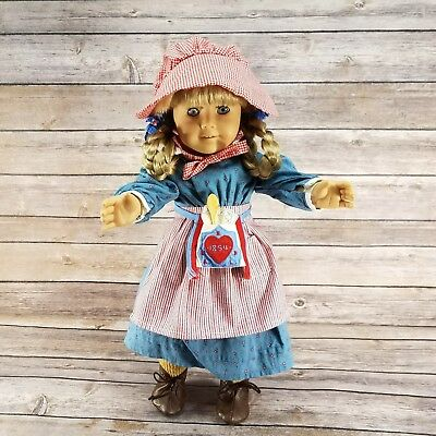 """American Girl Doll Kirsten 18"""" Pleasant Company With Meet Outfit and Accessories"""