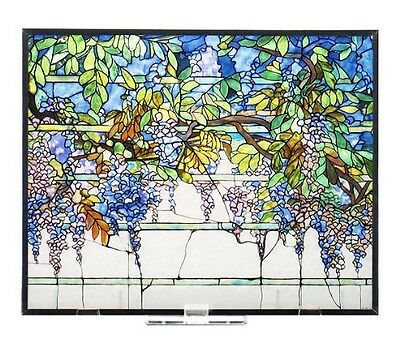 "Tiffany Wisteria Tabletop or Window Stained Art Glass Panel 14"" x 11.36"" NIB"