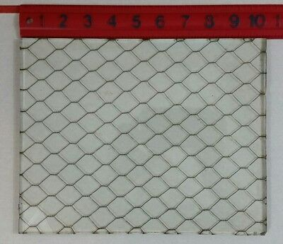 """Vintage Reclaimed Chicken Wire Safety GLASS Window Pane 10""""×8""""×.25"""" Clear"""