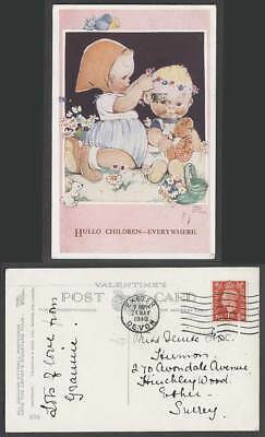 MABEL LUCIE ATTWELL 1940 Old Postcard Hullo Children, Everywhere, Teddy Bear 398