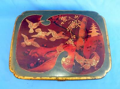Antique Old Rare Beautiful Wood Original Gold Bird Painted Lacquer jewelry Box