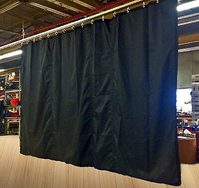 IN STOCK: Lot of (2) Black Fire-Retardant Stage Curtains, 10 H x 25 W each