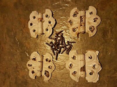 Antique brass plated steel butterfly hinges old white paint cabinet cupboard