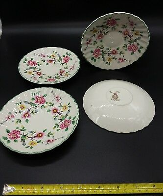 Vintage old Foley Chinese rose saucers 14cm x4