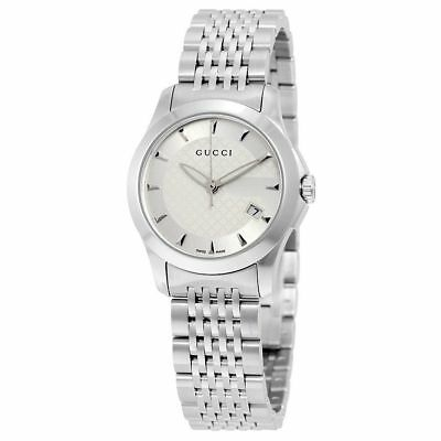 22e8cdb39de New Gucci G-Timeless Silver Dial Stainless Steel YA126501 27mm Ladies Watch