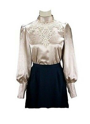 Beautiful Victorian Inspired High Neck Satin Blouse With Lace Applique