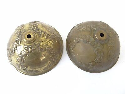 Antique Pair Old Brass Metal Embossed Lighting Fixture Canopies Canopy Parts