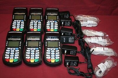 Lot of 6 Equinox T4220 P/N 0100332-359R ZYL Hypercom Card Readers w/Adapter