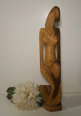Vintage Mid-Century Large Abstract Wood Carving Nude Woman Female Figure African