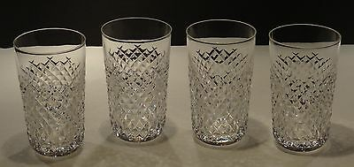 4 Vintage Waterford Alana 12 Ounce Tumbler Glasses  ~ Old Gothic Mark