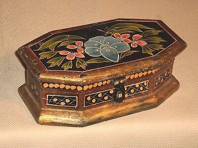 Antique Wood Hinged TRINKET BOX Floral Hand Painted Ornate Decoration 156s