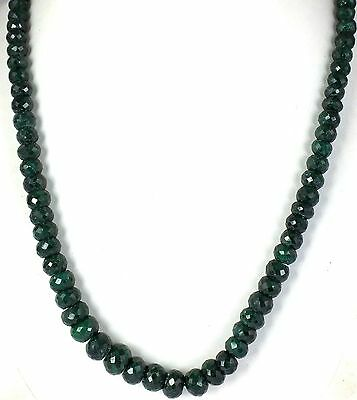 "1 Strand Emerald Corundum Rondelle Necklace Beads 6-10mm 18"" Long Strand"