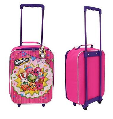 Moose Shopkins Pink Canvas Pilot Girls Rolling Luggage Suitcase Plus Game Cards